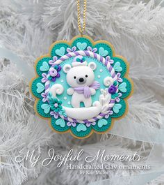Handcrafted Polymer Clay Winter Polar Bear Scene Ornament - made by Etsy seller My Joyful Moments.
