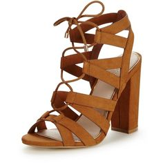 Lipsy Cleo Strappy Block Heel Sandal ($83) ❤ liked on Polyvore featuring shoes, sandals, heeled sandals, caged heel sandals, evening sandals, strap sandals and block heel shoes