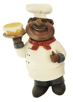 African American Fat Chef Kitchen Bistro Cooking Holding Cake Statue X64247