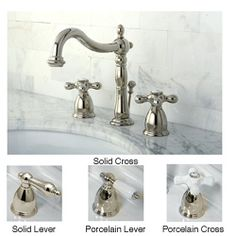Heritage polished nickel faucet. This widespread bathroom faucet features your choice of solid or porcelain cross or lever handles.http://www.overstock.com/Home-Garden/Polished-Nickel-Widespread-Bathroom-Faucet/6143483/product.html?CID=214117 $180.99