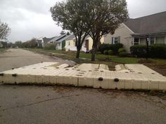 A dock washed at least 6 blocks inland in Margate, NJ.#flood more on @abcworldnews