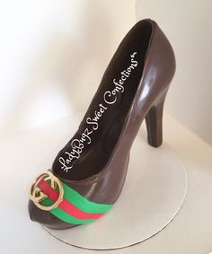 Designer inspired chocolate high heel shoe.
