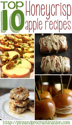 Honeycrisp apple lovers will love this pin- these awesome honey crisp apple recipes are all delicious! Who knew you could use apples in so many ways? Apples aren't just for pies anymore. Apple pie, apple bread, and apple sausages are just some of the great recipes. Must pin!