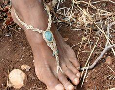 White Blue HIPPIE Single BAREFOOT AGAT stone macrame sandal beaded sandal foot jewelry beach wedding bohemian gypsy shoes macrame anklets