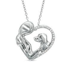 ASPCA® Tender Voices™ 1/10 CT. T.W. Diamond Animal Love Pendant in Sterling Silver - Zales