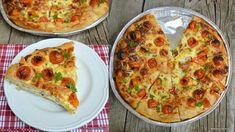 Plăcintă sărată cu brânză, smântână, ceapă verde și roșii cherry. Cum se face plăcinta dobrogeană cu brânză și foi subțiri din comerț? Rețeta Vegetable Pizza, Quiche, Vegetables, Breakfast, Food, Green, Morning Coffee, Essen, Quiches