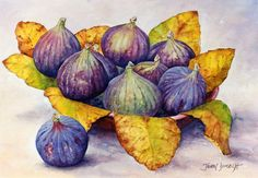 These watercolor figs by John Dimech are wonderful. He has truly captured all of the subtle colors in the figs and the complementary golden yellow leaves are very appealing.