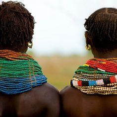 Africa | Nyangatom necklaces Ethiopia | © Eric Lafforgue