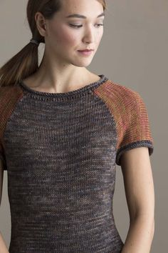 """Go There Now Two-Color Baseball Tee LAURA BRYANT Contrasting colors with clean, subtle shaping are a modern take on the classic baseball tee. A slinky Tencel yarn gives flowing drape to a simple shape. FINISHED SIZE 34 1/2 (38 1/2, 43, 47, 51 1/2)"""" bust circumference. Tee shown measures 34 1/2"""", modeled with minimal ease.…"""