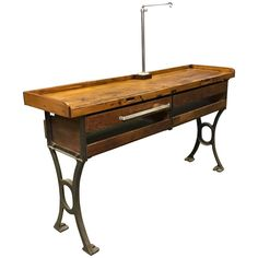 Industrial Double Wide Maple Cast Iron Jewelers Work Bench Table | From a unique collection of antique and modern industrial and work tables at https://www.1stdibs.com/furniture/tables/industrial-work-tables/