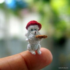 2/3 inch crochet dog micro miniature Poodle I'm in awe of her talent.