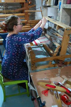 Hand weaving a table runner at our Christmas workshop.