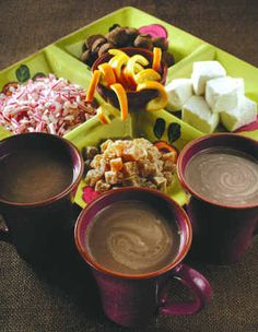 hot coco bar w/ add-ins (marshmallows, peppermints, caramels, orange peel, chocolate chunks)