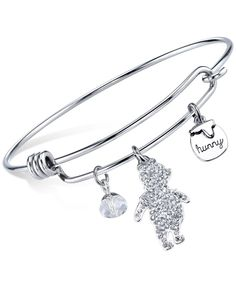 Disney Winnie the Pooh Crystal Charm Bangle Bracelet in Sterling Silver Plating and Stainless Steel