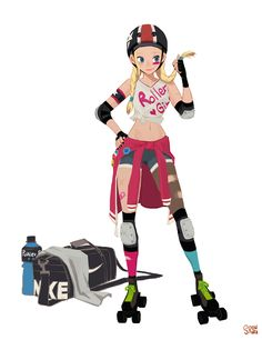 "My Roller derby girl. ""Jessi"" by hong soonsang Character Design Animation, Female Character Design, Character Design References, Character Design Inspiration, Character Concept, Character Art, Concept Art, Roller Derby Girls, Estilo Disney"