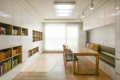 BOOK SYSTEM - Condo Interior, Home Interior Design, Living Room Modern, Home And Living, Small Living, Living Room Without Tv, Small Office Design, Small Apartments, House