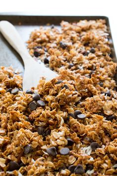 5 Ingredient Coconut Pecan Chocolate Chip Granola. Great for breakfast or as a snack. So much better than store-bought! Recipe by chefsavvy.com