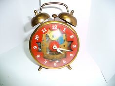 Mid century 1960's Creative Playthings Wind up Tin Clock