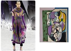 "Canvasses On The Catwalk: Chanel - Karl Lagerfeld visited an exhibition of Czech cubism while in Prague, and the work struck him enough to add some angular touches to his collection. The color palette of this dress mirrors that of Czech painter Emil Filla's 1934 oil on canvas piece ""Zátiší s dýmkou"" (Still Life with Pipe)."