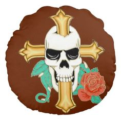 Skull Cross and Rose Round Throw Pillow
