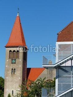 Treppengeländer an der Feuertreppe der Grundschule Helpup bei Oerlinghausen in Ostwestfalen-Lippe