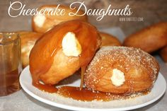 If I didn't have you at doughnuts, adding the word cheesecake got you! These cheesecake doughnuts are fabulous! Making doughnuts at home is so easy. Yes, it's easier to grab a box while… Beignets, Köstliche Desserts, Dessert Recipes, Unique Desserts, Donut Recipes, Cooking Recipes, Pudding Recipes, Beef Recipes, Slow Cooker Mexican Chicken