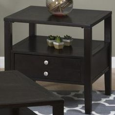 End Table with Drawer and Shelf in Espresso | Nebraska Furniture Mart