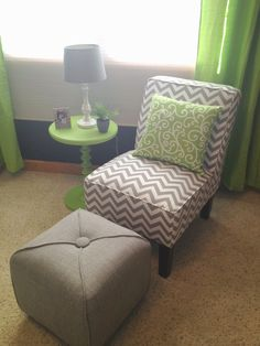 I love this chair, pillow, table AND footstool! Lime Green Bedrooms, Lime Green Walls, Green Accent Walls, Bedroom Green, White Bedroom, Bedroom Decor, Picture Room Decor, Accent Colors For Gray, Master Bedroom Makeover