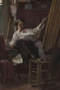 """Self Portrait, Thomas Hovenden "" Self-Portrait of the Artist in His Studio Yale University Art Gallery. Thomas Hovenden (December 1840 – August was an. Lucian Freud, Elizabeth Ii, Selfies, Irish Painters, Impressionist Artists, Modern Artists, American Artists, Art Studios, Paintings"