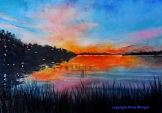 Whiskey Point Sunset by Diane Morgan Watercolor ~ 10 x 13.5