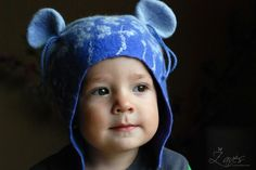 Mouse-eared sweet and very warm  baby  hat, wetfelted, HANDMADE TO ORDER. $32.00, via Etsy.  I love these!