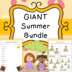 A giant Summer bundle filled with a huge variety of different activities/worksheets to be completed.This bundle includes;- 6 piece jigsaw (7 pages)- 12 piece jigsaw (7 pages)- Acrostic poem (4 pages)- Addition worksheet (2 pages)- Color by number (5 pages)- Counting worksheets (10 pages)- Data handling book (4 pages)- Dominoes (20 pages/120 pieces)- Easy mazes (6 pages)- Easy wordsearch (2 pages)- Fine motor skills (3 pages)- Handwriting practice (10 pages)- Harder mazes (6 pages)- Harder…
