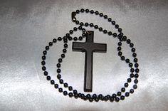 Large, Dark Wood (black), Wooden Cross Necklace - The Rosary Beads Company - http://rosarybeadscompany.com/product/large-dark-wood-black-wooden-cross-necklace/