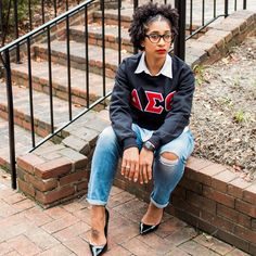 The DST vintage inspired sweatshirt features chenille patches that you will love. Delta Sigma Theta Apparel, Delta Sorority, Sorority Sisters, Sorority Life, Black Fraternities, Hot Topic Clothes, Delta Girl, Custom Greek Apparel, Geek Jewelry