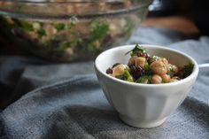 Chickpeas and raisins, never thought of the two together until now. I like the looks of it.