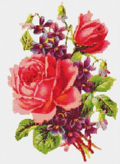 Pink Roses, Flower, Floral, Counted Cross Stitch Pattern, Xstitch Pattern