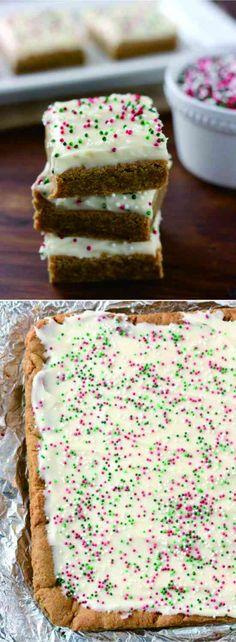 GINGERBREAD BARS WITH EGGNOG CREAM CHEESE FROSTING - cheese, cinnamon, cookie, dessert, gingerbread, nutmeg, recipes, vanilla