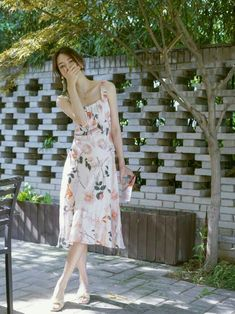 Girl Fashion, Fashion Outfits, Colorful Fashion, Flower Prints, Dress Skirt, Strapless Dress, Short Dresses, Coat, Korea