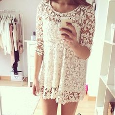 In a real I want to win the lottery mood right now, and then I could buy all things lace. White lace dress, flowery and flowy and I want it 🌸🌸 Girly Outfits, Outfits For Teens, Summer Outfits, Cute Outfits, Summer Clothes, Summer Dresses, Outfit Vintage, Vintage Dresses, Buy Dress