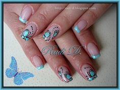 Baby blue french & Butterflies by RadiD - Nail Art Gallery nailartgallery.nailsmag.com by Nails Magazine www.nailsmag.com #nailart