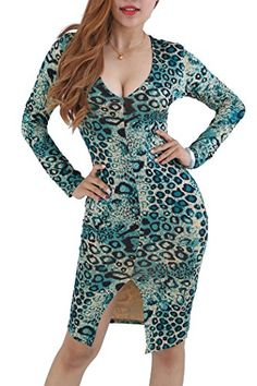 YMING Women Sexy Bodycon Leopard Prant Green Evening Club Dress S