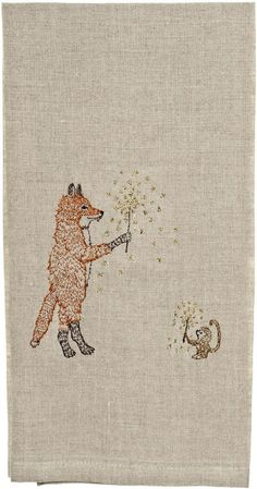 """Coral and Tusk - """"fox and monkey with sparklers"""" embroidered tea towel"""