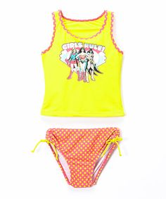 Look at this Yellow Girl Power Tankini - Infant, Toddler