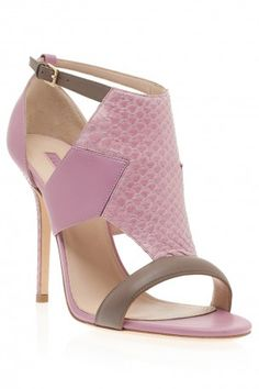 Calfskin and Python Sandals by ELIE SAAB