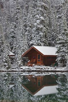 This would be a cute Christmas cabin to stay at on winter break! Water is colder and attracts mosquitos. Sure is pretty though. (Rustic Cabin of Lake O'Hara Lodge in Snow**) Winter Cabin, Cozy Cabin, Snow Cabin, Cozy Winter, Beautiful Places, Beautiful Homes, Cabin In The Woods, Log Cabin Homes, Log Cabins