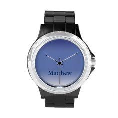 Custom Name Blue Gradient Stainless Steel Watch