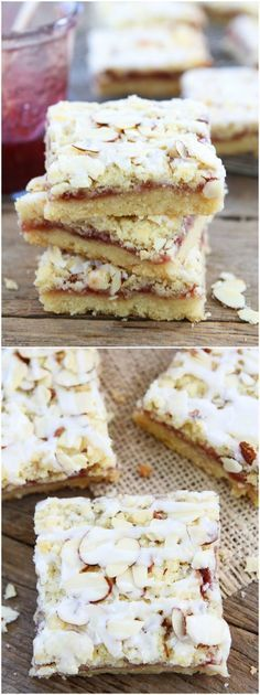 Raspberry Almond Shortbread Bars Recipe on http://twopeasandtheirpod.com Buttery shortbread bars topped with raspberry jam, almond streusel, and a sweet almond glaze. These bars are amazing!