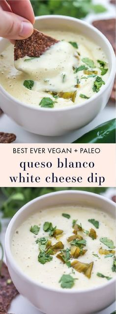This is the best vegan queso recipe ever, one bite and you'll be convinced. With rich cashew cream, bright green chiles, and spicy jalapenos, you'll fall in love with this vegan queso and finally get nachos back into the dinner meal rotation. Whole Food Recipes, Vegetarian Recipes, Cooking Recipes, Healthy Recipes, Dip Recipes, Best Vegan Recipes, Paleo Food, Vegetarian Cooking, Recipes Dinner