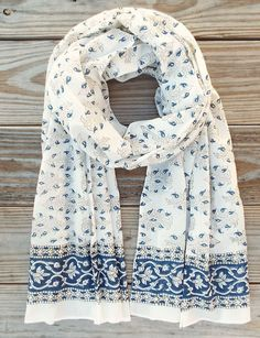 April Showers Fair Trade Scarf from Passion Lilie: A light- weight and ethically made cotton scarf that features a blue floral hand block print in eco dyes.