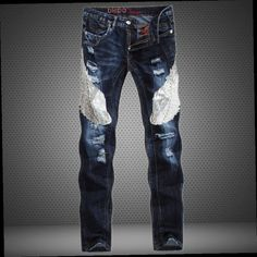 42.07$  Buy here - http://alivbc.worldwells.pw/go.php?t=32291870855 - Eagle Patchwork Jeans Men Hole Fashion Jean Brand Biker Jeans Homme Sequined Mid-rised Straight Slim Ripped Jeans Casual Pants 42.07$